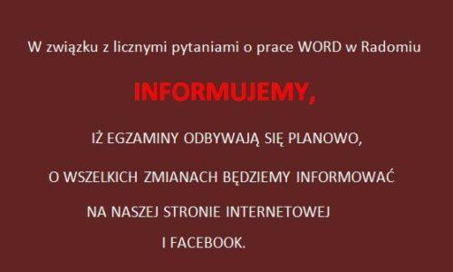 Informacja dotycząca egzaminów w WORD Radom